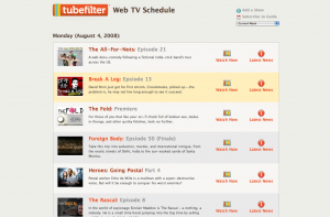 Tubefilter Web TV Schedule