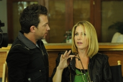 "David Faustino & guest star Christina Applegate in Crackle.com's ""Star-ving.""  Credit:  Crackle.com / Michael Yarish"