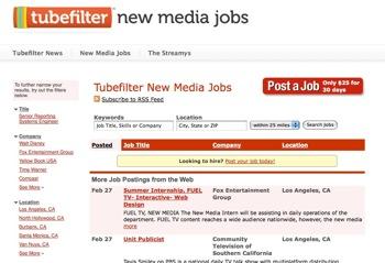 Tubefilter New Media Job Board