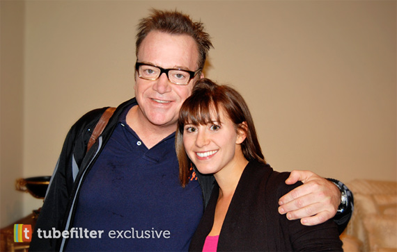Tom Arnold on set with Kaily Smith, Creator of MERRIme.com