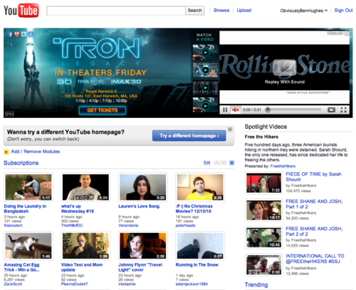 new homepage before