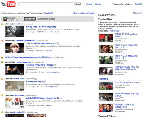 new YouTube home page