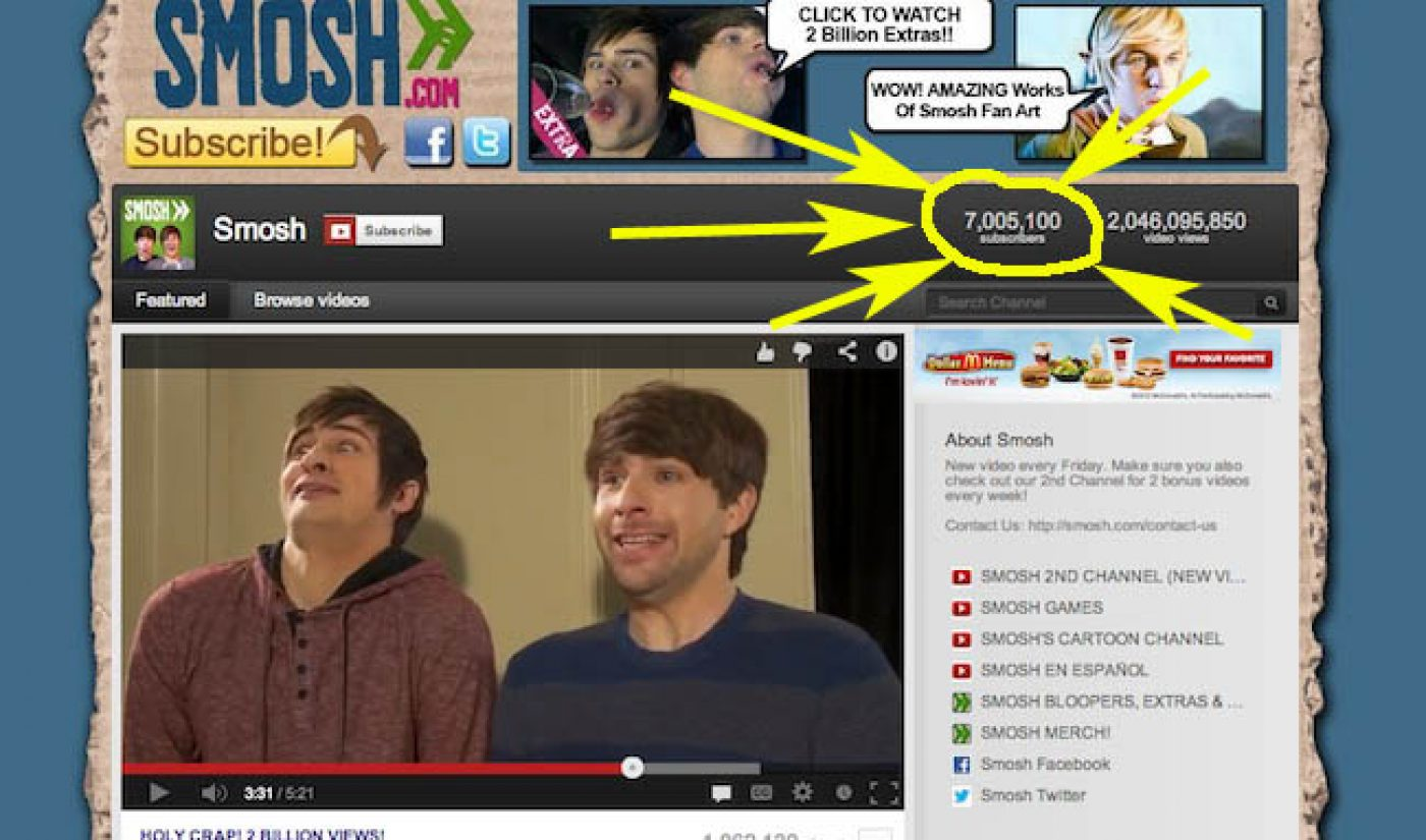 Smosh Becomes First Member Of YouTube's 7 Million Subscriber Club