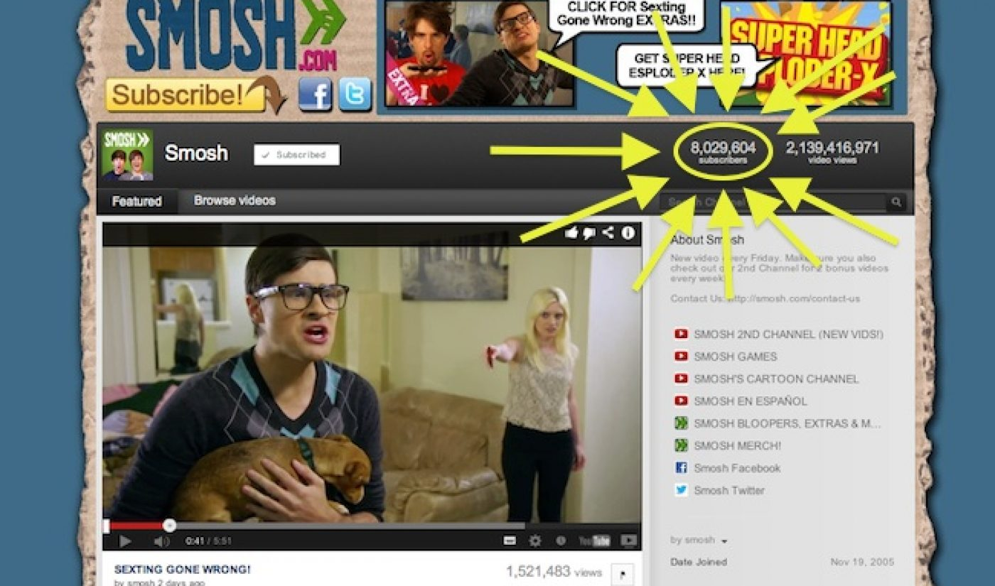 Smosh Becomes First YouTube Channel To Hit 8 Million Subscribers