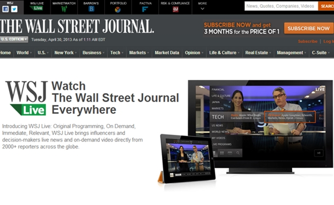 Wall Street Journal To Promote Startups In New Web Series