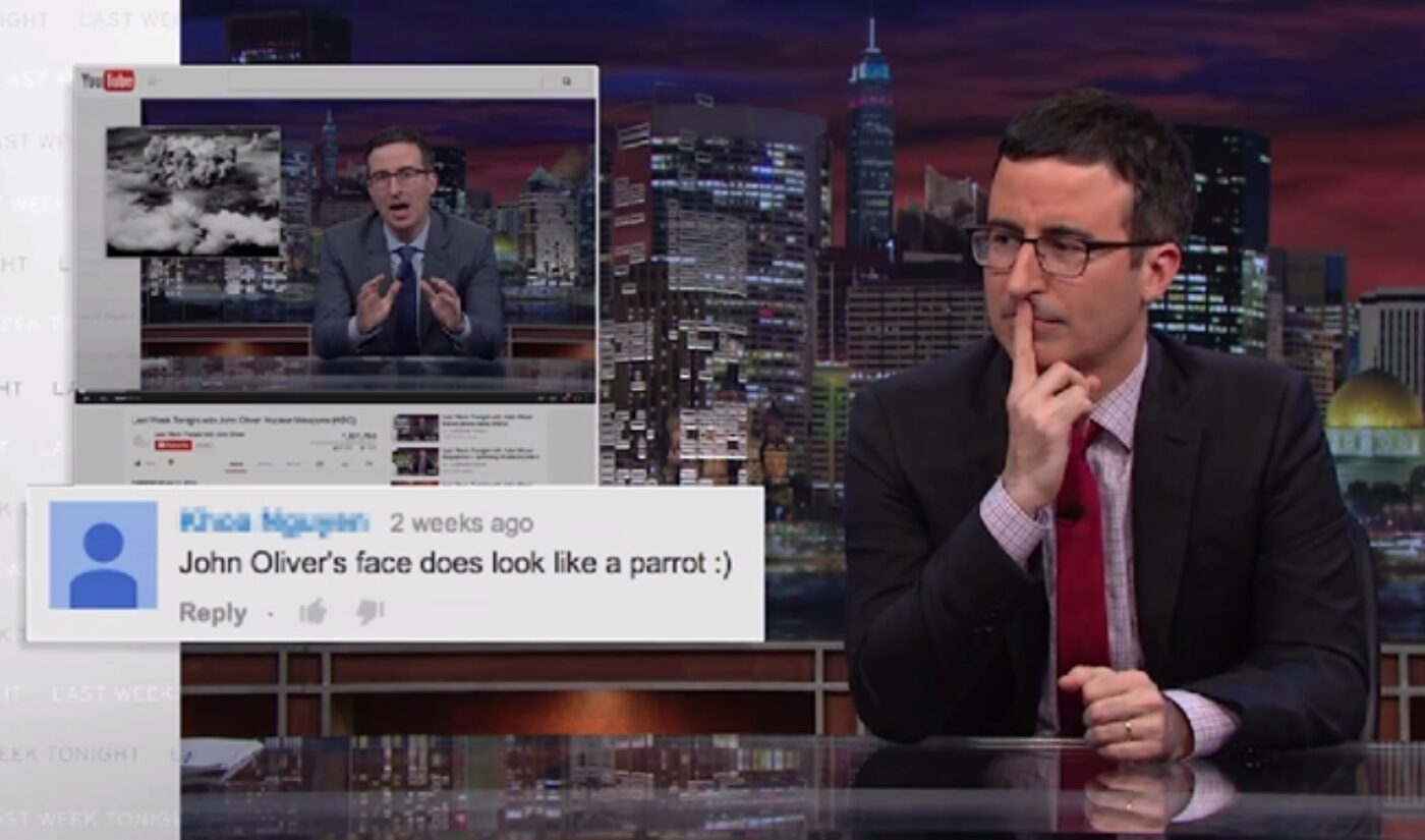 During A Week Off, John Oliver Makes Fun Of YouTube Commenters