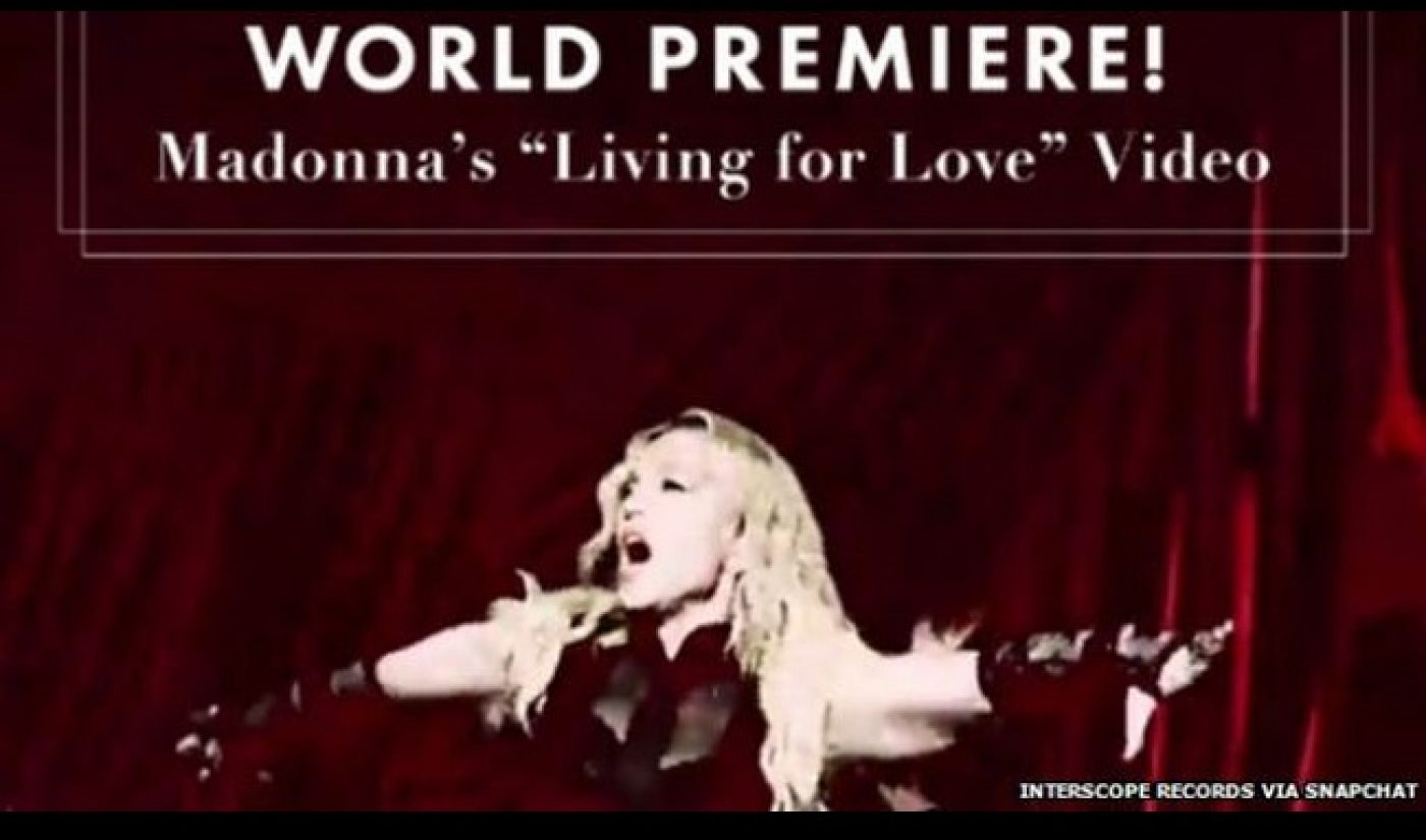 """Madonna Premieres """"Living For Love"""" Music Video On Snapchat"""