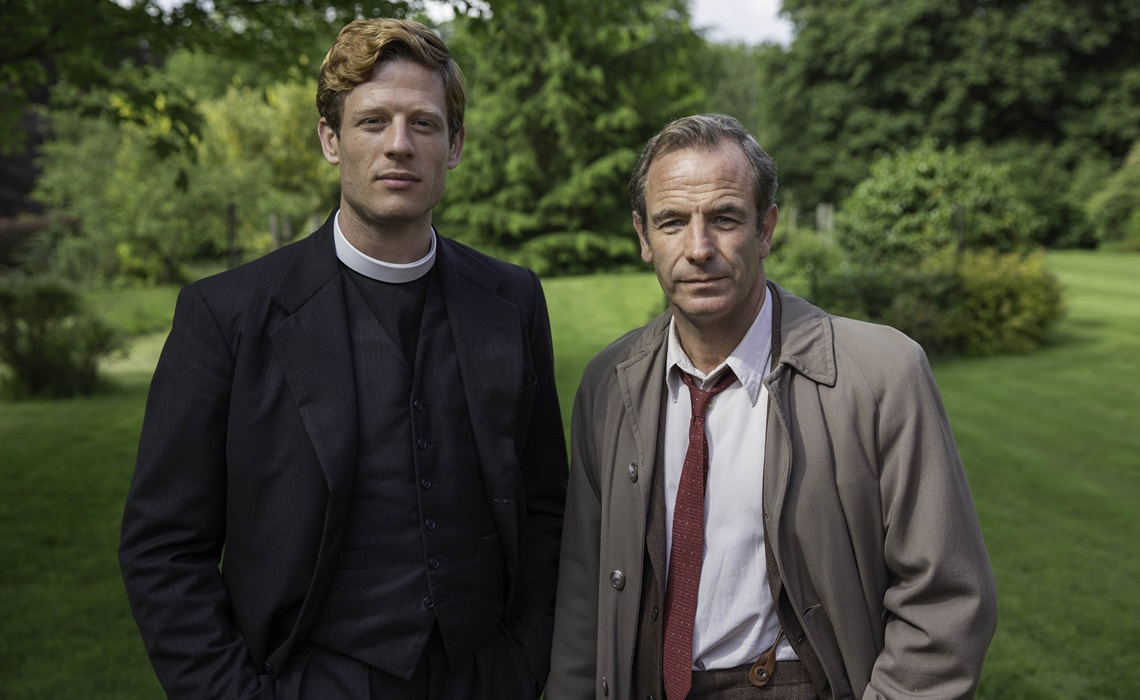 A LOVELY DAY PRODUCTION FOR ITV  GRANTCHESTER   Picture Shows: JAMES NORTON as Sidney Chambers and ROBSON GREEN as Geordie Keating.  Set in 1953 in the beautiful village of Grantchester in Cambridgeshire, the residents are in shock following the death of a villager, particularly as it is presumed to be suicide. Local vicar Sidney Chambers (Norton) is at the heart of the community and residents turn to him for comfort and support. After speaking to villagers, Sidney soon realises there may be more to the death than first thought, so he sets about delving deeper to discover what really happened. Sidney works alongside Inspector Geordie Keating (Green) to solve the mystery, and it soon transpires that GeordieÕs methodical approach to policing complements SidneyÕs more intuitive techniques of coaxing information from witnesses and suspects Ð a fantastic new detective team is born.