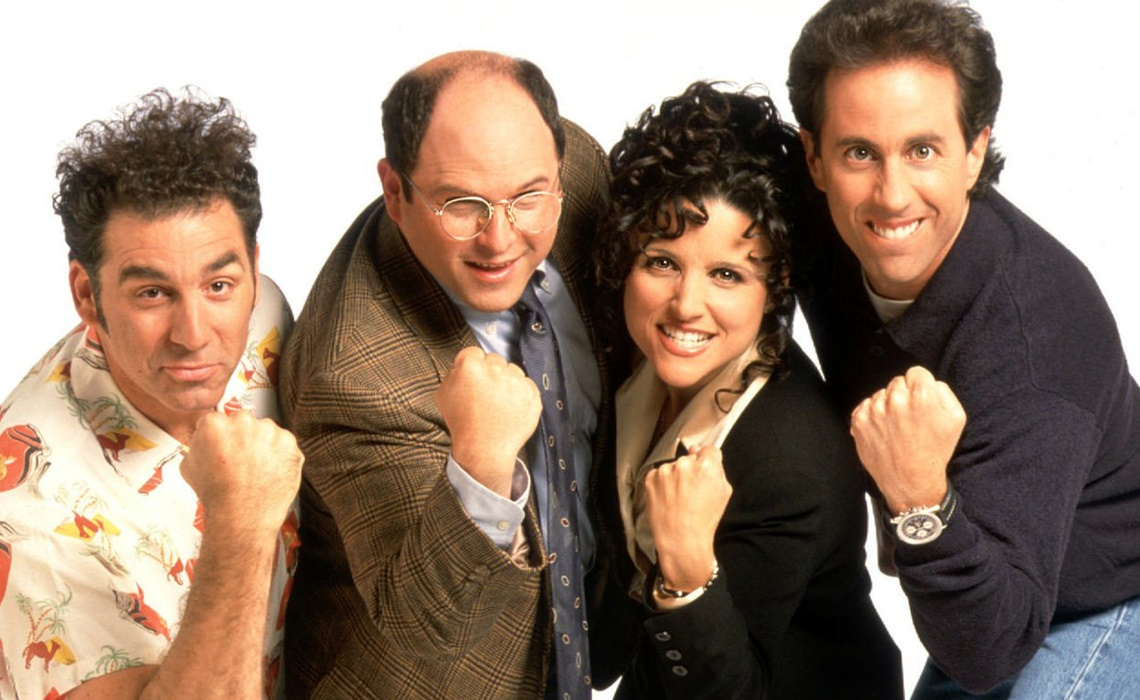 "**FILE**The cast of NBC's ""Seinfeld"" poses in this undated publicity photo. The sitcom, out of production since 1996, left a void that has yet to be filled. From left, are Michael Richards as Kramer, Jason Alexander as George Costanza, Julia Louis-Dreyfus as Elaine Benes and Jerry Seinfeld as himself. (AP Photo/Columbia/TriStar Television Distribution)"