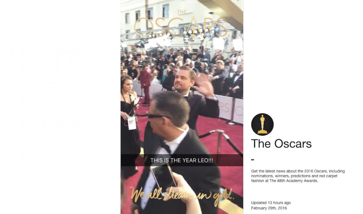 Snapchat Launches Web Player For Oscars, Makes First Live Story Viewable On Desktops