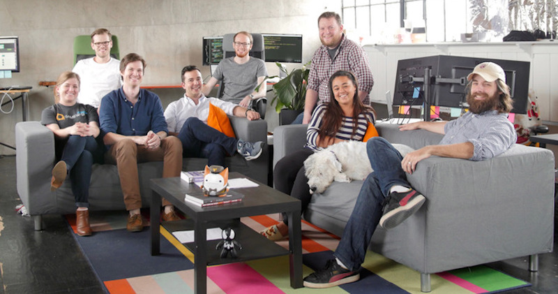 The GameWisp Nashville team (left to right: Kelley Griggs, Jase Rader, Michael Anderson, Aaron Middleton, Thomas Buida, Andrew Wynans, MaRisa Jackson, Donny - GameWisp's best friend - and Eli Hooten).