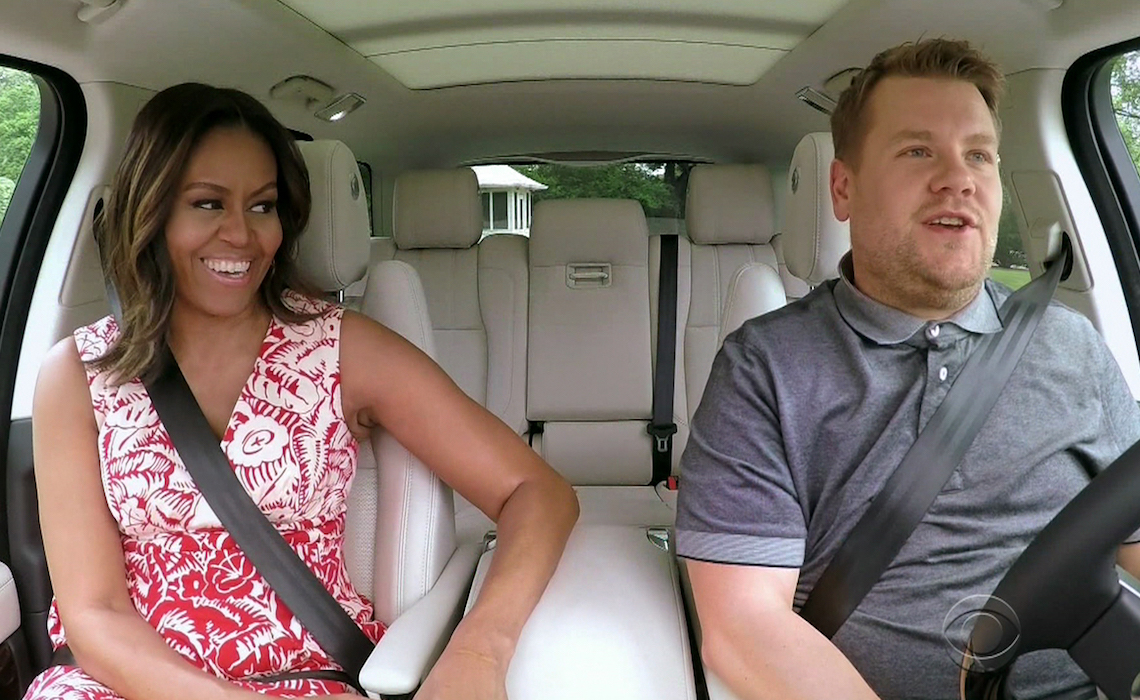 "Michelle Obama during an appearance on CBS's 'The Late Late Show with James Corden.' James Corden's White House tour takes an unthinkable turn when First Lady Michelle Obama joins him for a drive around the grounds singing Stevie Wonder and Beyonce. Surprise guest Missy Elliott drops in to sing ""This Is For My Girls.""  Featuring: Michelle Obama Where: United States When: 21 Jul 2016 Credit: Supplied by WENN.com  **WENN does not claim any ownership including but not limited to Copyright, License in attached material. Fees charged by WENN are for WENN's services only, do not, nor are they intended to, convey to the user any ownership of Copyright, License in material. By publishing this material you expressly agree to indemnify, to hold WENN, its directors, shareholders, employees harmless from any loss, claims, damages, demands, expenses (including legal fees), any causes of action, allegation against WENN arising out of, connected in any way with publication of the material.**"