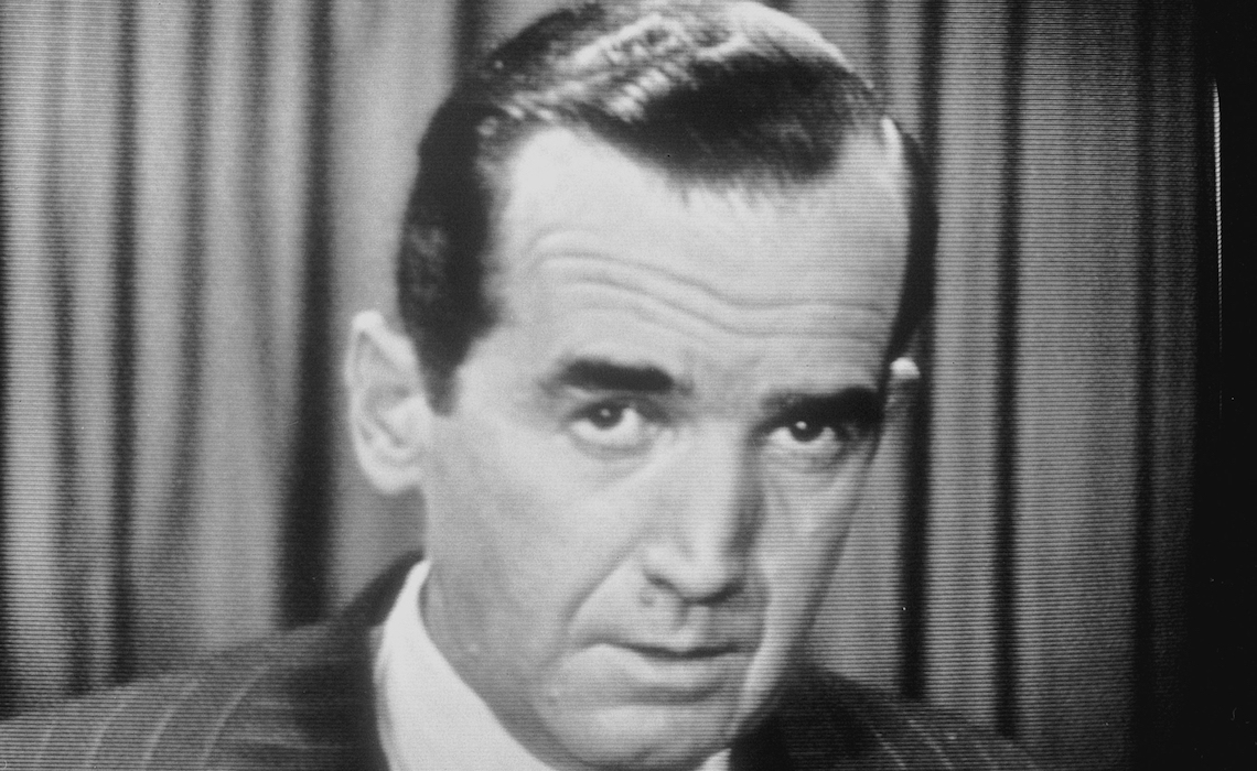 "1954 News Edward R. Murrow, ""See it Now"" speaking on Sen. Joseph McCarthy � Copyright CBS Broadcasting Inc., All Rights Reserved, Credit: CBS Photo Archive"