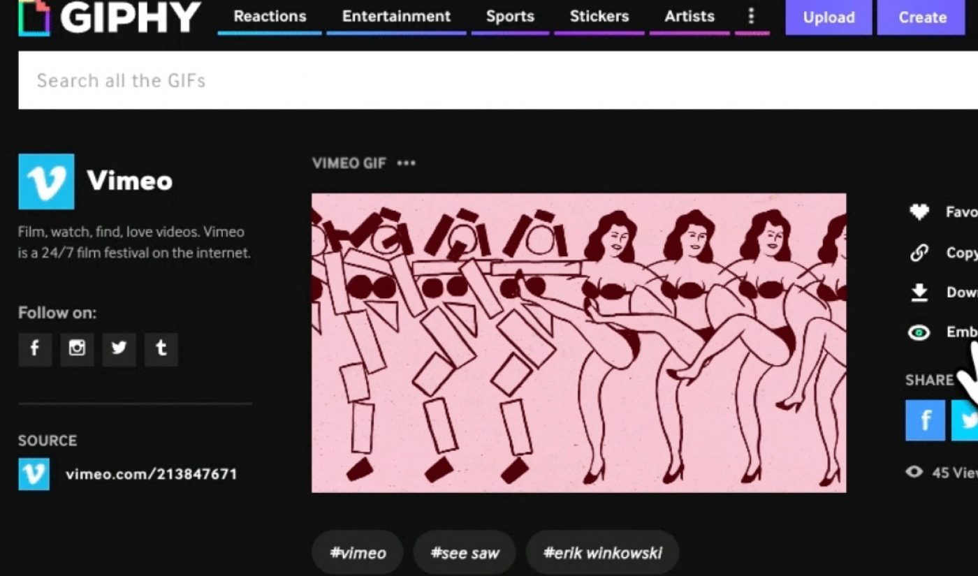 Giphy's Gifs Can Now Serve As Thumbnails For Vimeo's Videos