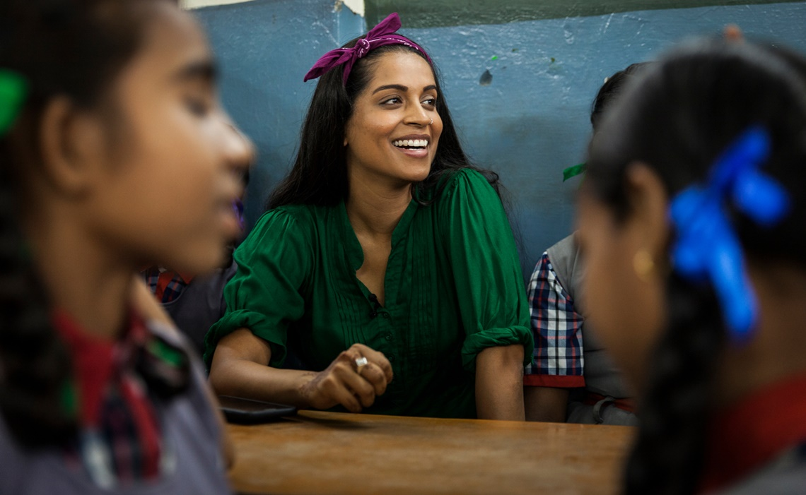 On 12 July 2017 in India, Lilly Singh visited a school run by the Madhya Pradesh State government in Bhopal where she met with students 11- 14 years of age.  UNICEF's newest Goodwill Ambassador Lilly Singh undertook a three-day field trip to India's Madhya Pradesh state between 12-14 June 2017, visiting a state run school in Bhopal, a youth empowerment project in Harda, a village sanitation project, as well as other UNICEF-supported initiatives. She met with adolescents and young people growing up in challenging circumstances including extreme poverty but who have been able to bring positive changes to their lives. The state's population includes 30.5 million children under the age of 18, or 42 percent of its total population. One in seven children between 0 and 6 years of age in India is from the state, India's second largest by area.  Singh, who was announced as a UNICEF Goodwill Ambassador on Saturday, 15 July 2017, will work with UNICEF to engage young people in speaking out about the issues they face such as violence, abuse, and neglect. Her role with UNICEF will compliment her Girl Love initiative, which aims to end to girl-on-girl hate and instead focuses on positivity by encouraging support of women and girls.