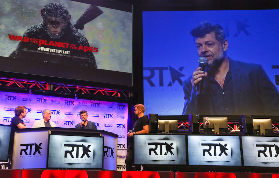 """Andy Serkis and Joe Letteri discuss their new film """"War for the Planet of the Apes"""" during RTX 2017's first day keynote at the Austin Convention Center in Austin, Texas on Friday, July 7, 2017. (Photo by Jack Plunkett)"""