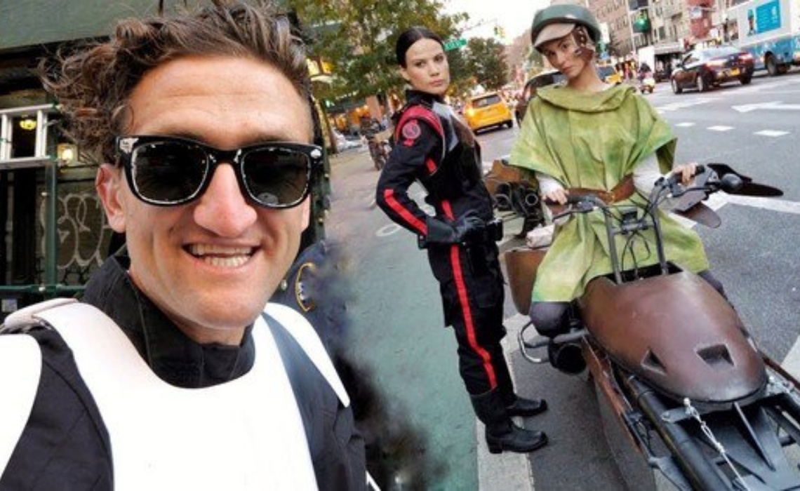 youtube stars casey neistat jesse wellens ride star wars bikes for latest halloween costumes