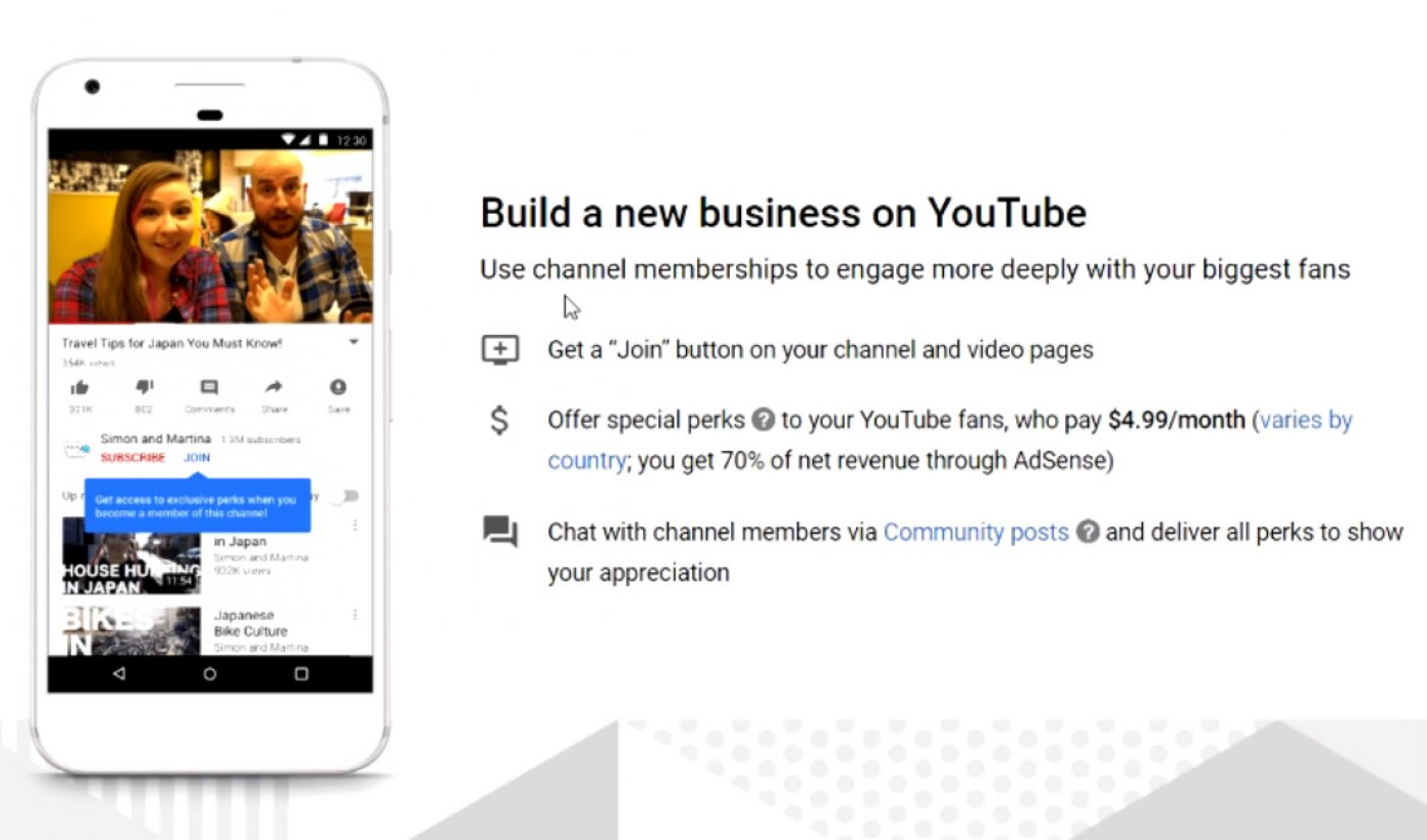 YouTube Opens $5 'Channel Memberships' Feature To Creators With More Than 50,000 Subscribers