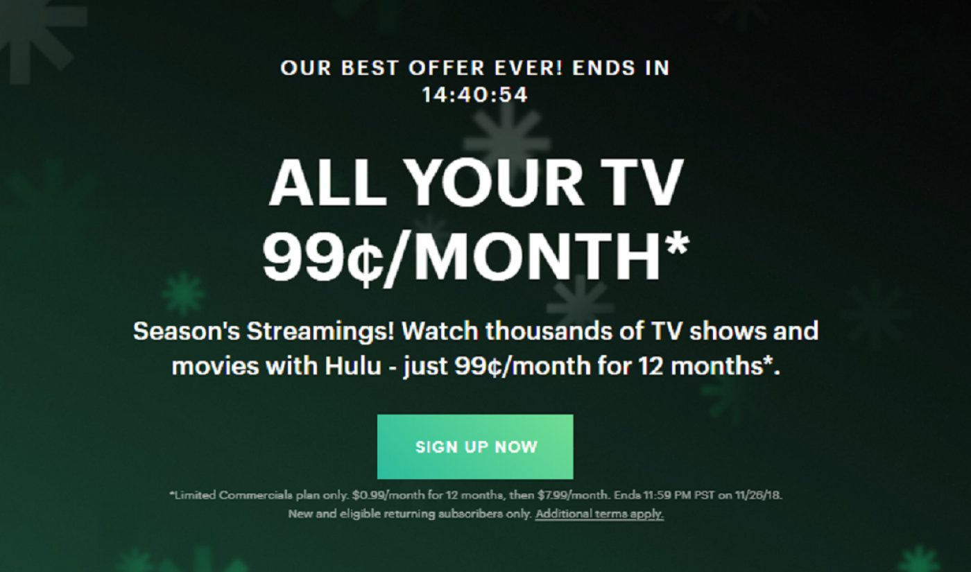 Hulu's Cyber Monday Deal Offers Its Steepest Discount Ever