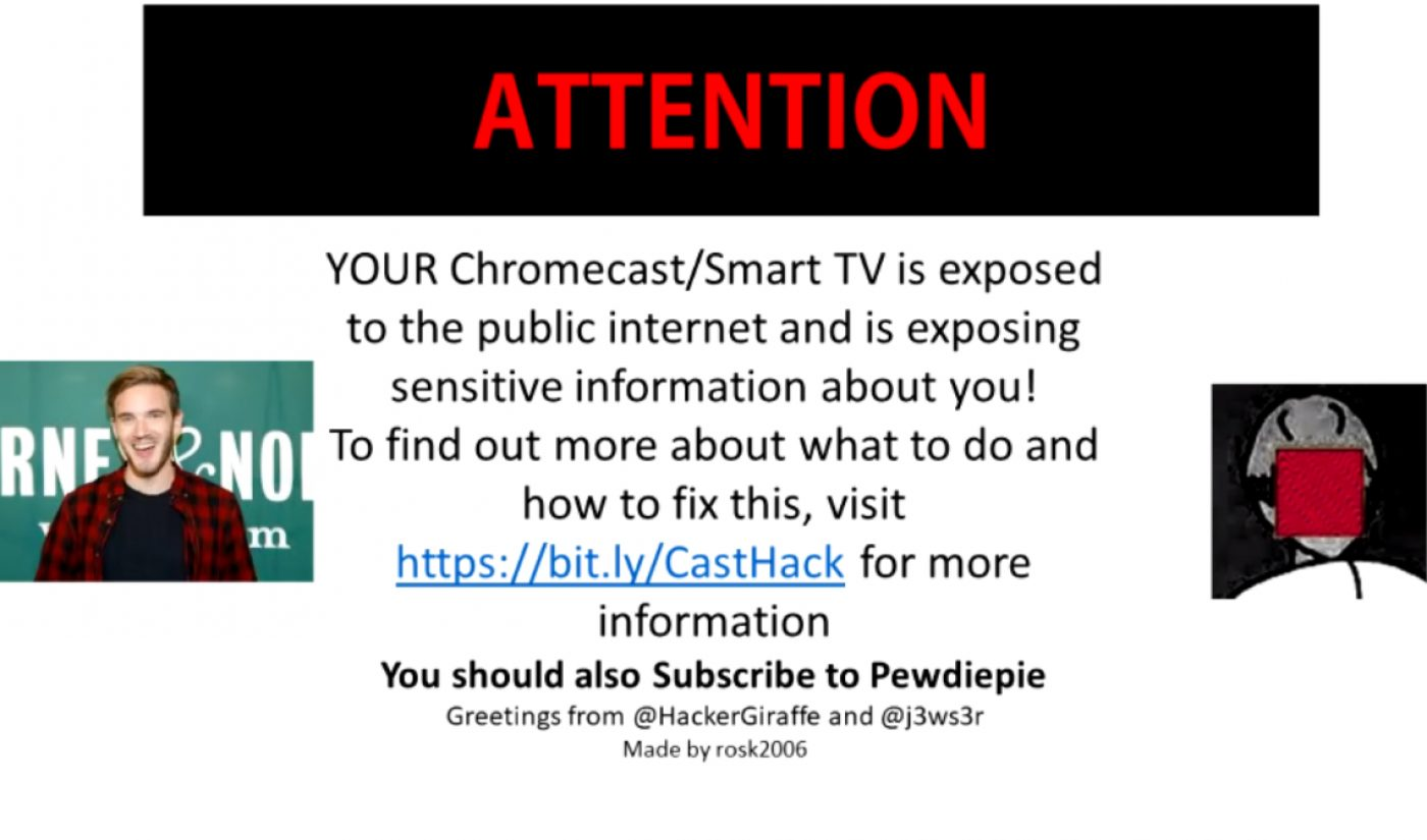 Pro-PewDiePie Printer Hacker Returns, Making 5,500+ Smart TVs, Google Devices Urge Users To Subscribe
