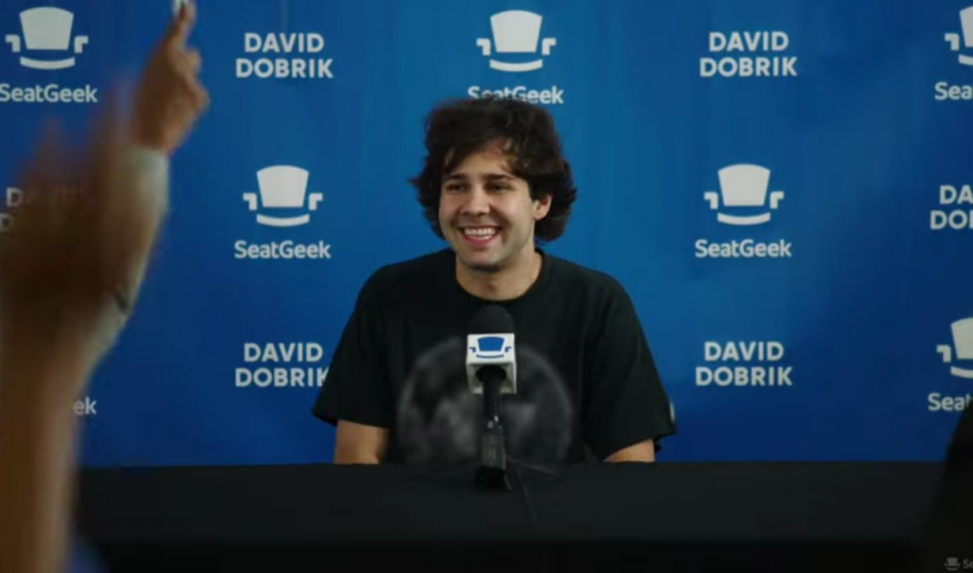 SeatGeek Taps David Dobrik To Launch Its First Branded Series, 'Postgame Press Conference'