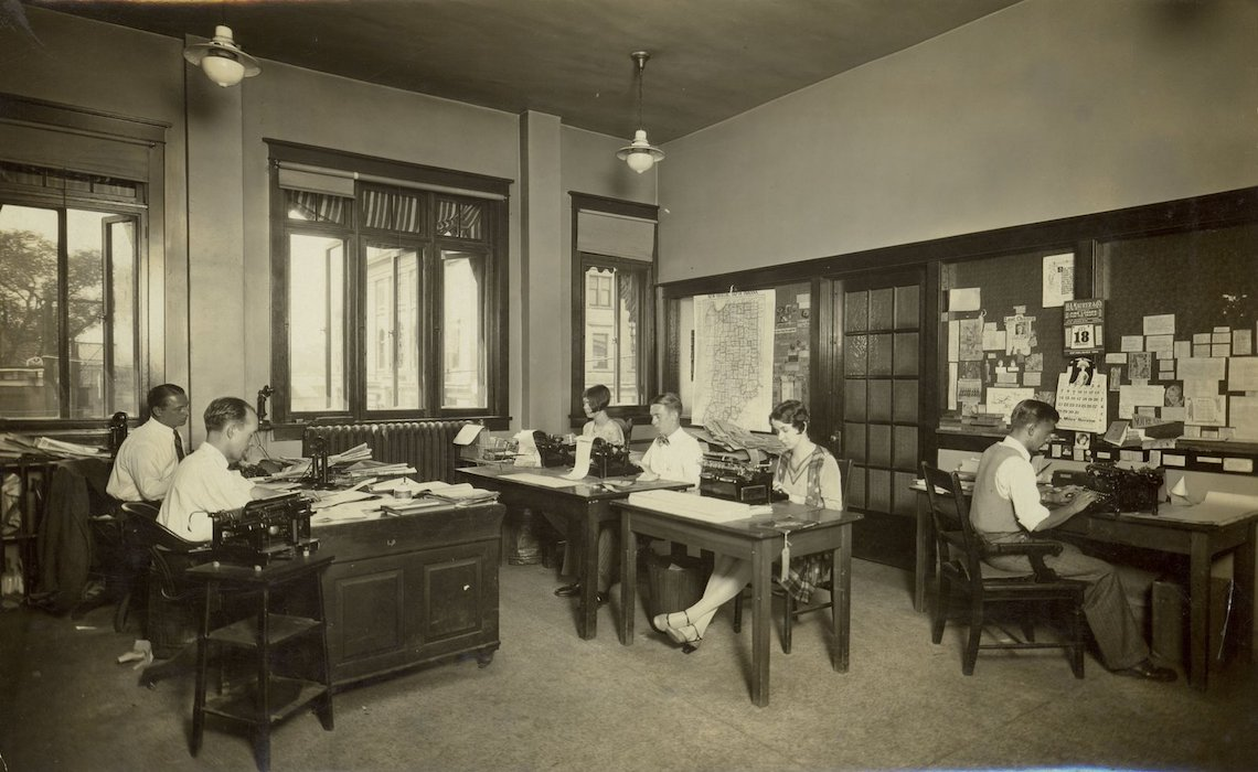 Vintage newspaper office