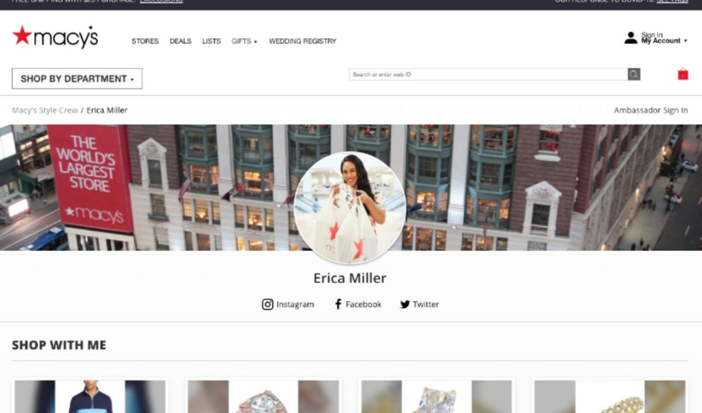 Macy's Vastly Democratizes 'Style Crew' Influencer Program, Which Was Formerly Only Open To Employees